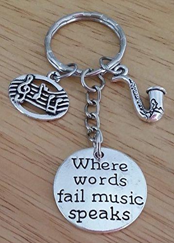 Saxophone Keychain, Music Keychain, Musci Note Keychain, Music Key Ring, Saxophone Charm Key Ring Photo #2