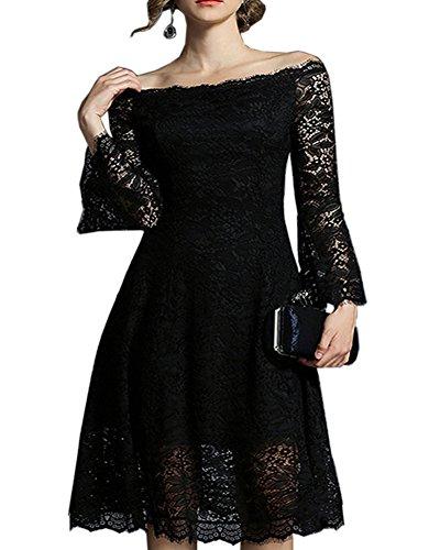 Aofur Women Formal Party Evening Wedding Bridesmaids Dresses Ladies Summer Lace Dress (XX-Large, Black) by Aofur