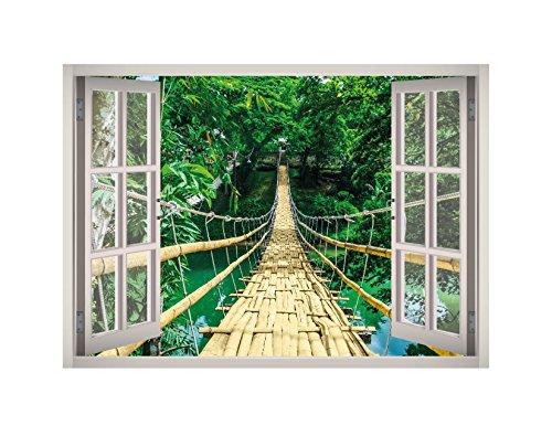 Cheap  Bamboo Bridge Over River View Window 3D Wall Decal Art Removable Wallpaper..