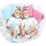 NPK 22 Inch Real Lifelke Reborn Baby Doll Twins Realistic Newborn Dolls Sleeping Girl and Boy 2pcs Toys Free Magnet Pacifier