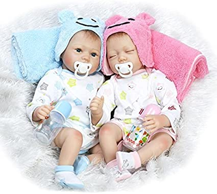 Funny House 22 Inch Soft Vinyl Real Lifelke Reborn Baby Doll Twins Realistic Newborn Dolls Sleeping Girl And Boy 2pcs Toys Free Magnet Pacifier Toys Games