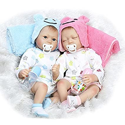Npk 22 inch real lifelke reborn baby doll twins realistic newborn dolls sleeping girl and boy