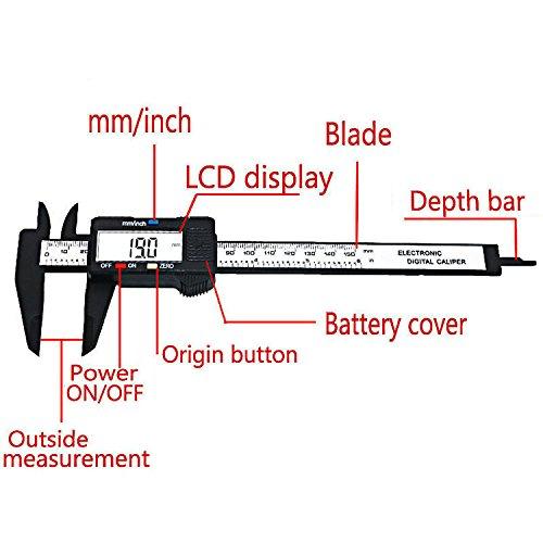 Electronic Digital Caliper Measuring Tools Electronic Digital Caliper Measuring Gauge150 mm // 6 pulgadas WJSX Digital Calliper with Large LCD Display