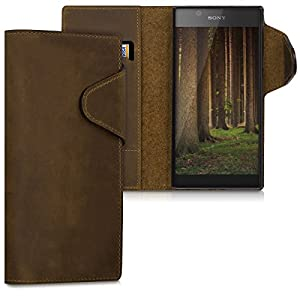 kalibri Genuine Leather Wallet Case for Sony Xperia L1 - Case with pocket and stand in brown