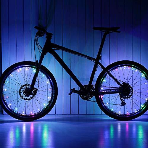 ring Lights, LED Waterproof Bicycle Spoke Light 20 LED 2 Light Modes Bicycle Rim Tire Lights for Mountain Bike/Road Bikes/BMX Bike/Hybrid Bike/Folding Bike Good Gift 2Pcs (multi) ()