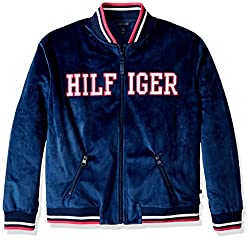Tommy Hilfiger Big Girls' Velour Track Jacket, Flag Blue, Medium