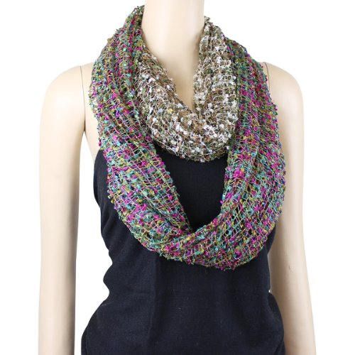 All New Two in One Confetti Infinity Scarf, Made in India, Teal/Fuchsia and Olive/Brown (India Scarf In Made)