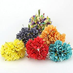 30PCS 4CM Carnation Silk Artificial Flower Bouquet For Home Wedding Party Decoration DIY Wreath Gift Box Scrapbooking Fake Flowers 6