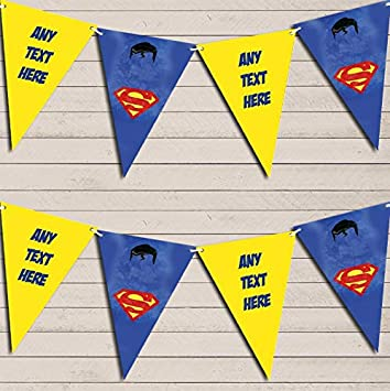 Superhero Superman Children's Birthday Bunting Garland Party Venue Decoration Party Flag Banner Garland The Card Zoo