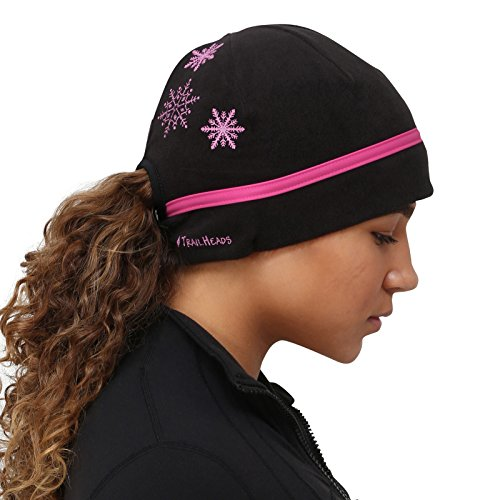 Galleon - TrailHeads Women s Ponytail Hat - Reflective Cold Weather Running  Beanie - Black pink Snowflake e734e5feb47