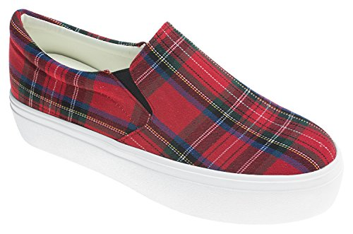 AnnaKastle Womens Plaid Canvas Platform Slip-On (Red Plaid Sneaker)