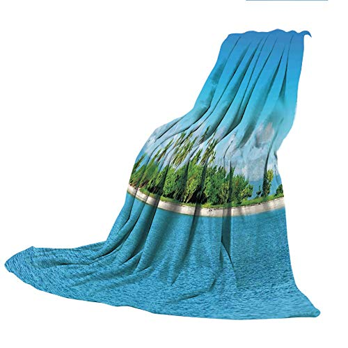 SCOCICI Comfortable Printing Blanket and Washing Machine Washable,Island,Uninhabited Island at Philippines Beach Palm Trees Forest Tropical Vacation Picture,Blue Green,59.06
