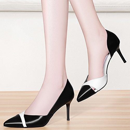 GTVERNH-Meine Damen Sandalen Wies Kopf Dünnen Absätzen 8 Cm High Heels Sommer Einzelne Schuhe Zusammenfügen Und Witze.