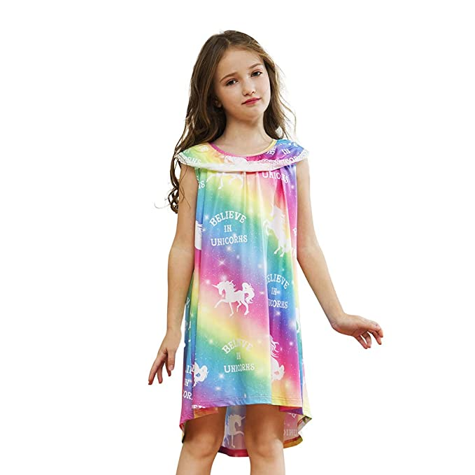25c4b7a82ea2e Sylfairy Girls Nightgown, Kids Rainbow Unicorn Nightgowns Pajama Sleepwear  Toddler Nightie Princess Night Dresses
