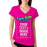 Custom Printed V Neck T-Shirt For Women Personalized Design Your Own (XXL, Pink)