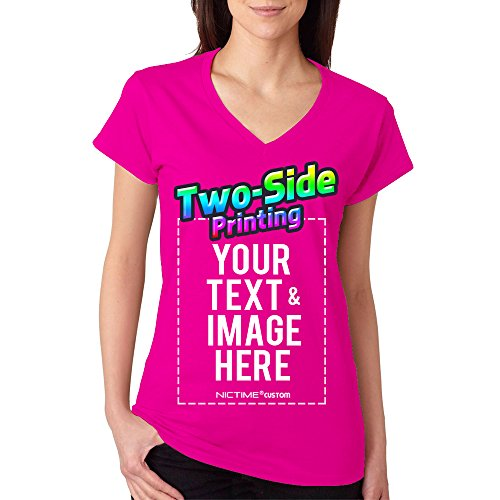 Custom Printed V Neck T-Shirt For Women Personalized Design Your Own (XXL, Pink) by NICTIME