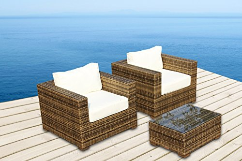 Outdoor Patio Furniture All Weather Wicker 3 Pc Arm Chair Set