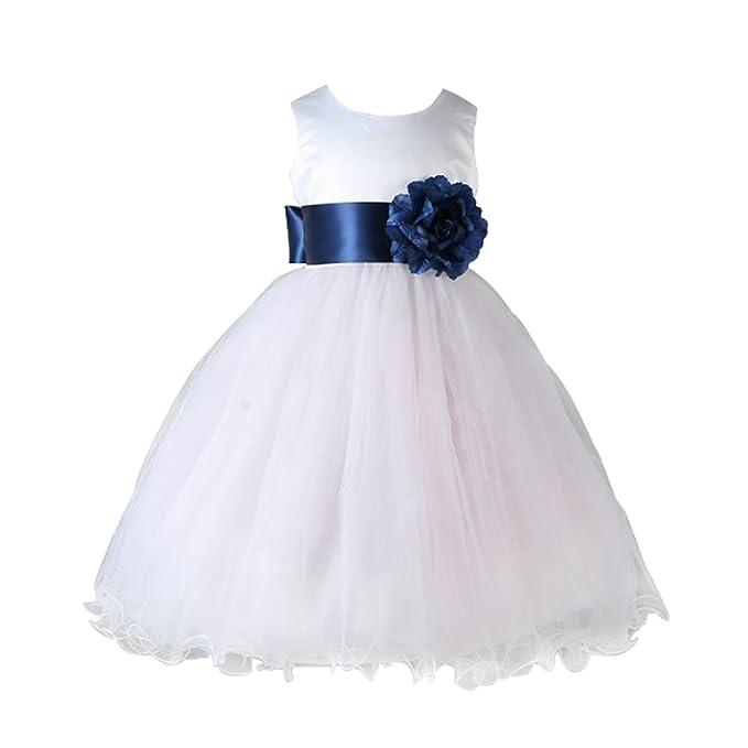 Huicai Niños Niña de las flores Vestidos Tulle Vestido de novia Bautizo de Dama de honor