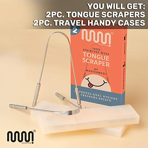Tongue Scraper with Travel Case - 2 Pack, Fights Bad Breath, Medical Grade 100% Stainless Steel, Great for Oral Care, Tongue Cleaner for Adults and Kids, Easy to Use with Non-Synthetic Handle