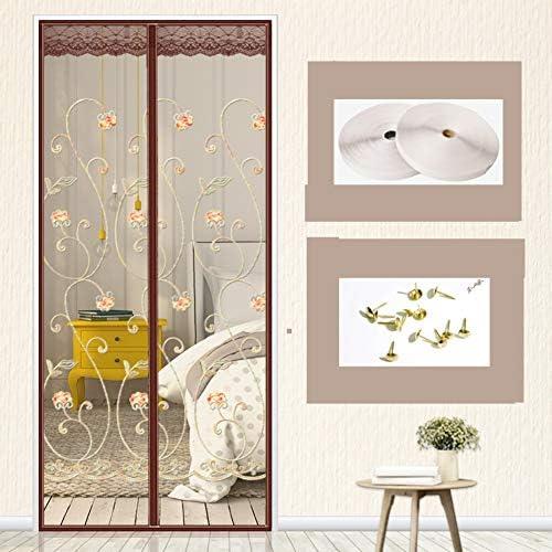 網戸 マグネット式, 蚊パティオ スクリーン 魔法のドアのメッシュ と マジックテープ付き バックドア カーテン 完全なフレーム フランス語 モスキート カーテン-a W:95cmxh:210cm