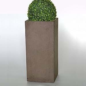 """'Plan Tara Flores columna Jardinera """"Tamarix 28x 60cm marrón en piedra columna fibra de vidrio"""