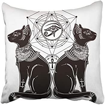 Emvency Decorative Throw Pillow Case Cushion Cover Gothic Devil Imp Like Cat Head Portrait with Curly 18x18 Inch Cases Square Pillowcases Covers Two Sides Print