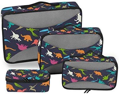 恐竜カラフルブルー荷物パッキングキューブオーガナイザートイレタリーランドリーストレージバッグポーチパックキューブ4さまざまなサイズセットトラベルキッズレディース