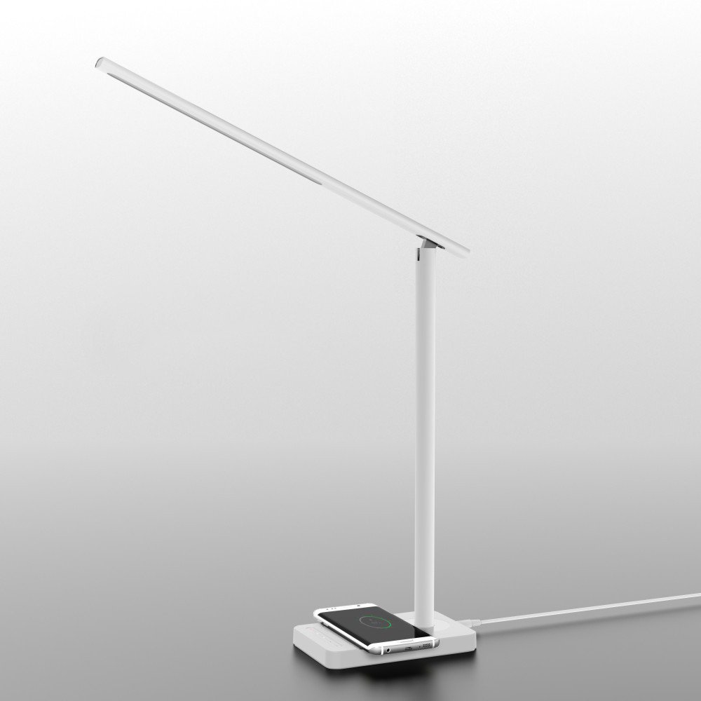 Wireless Charger LED Lamp, Office Lamp, Mr.mAh Brightness Adjustable Table Lamp with USB Charging Port, Touch Control