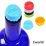 Eworld - Silicone Bottle Caps - Beer Savers Reusable Wine Stopper Beer Keep Fresh Sealer Cover - 6 Pcs