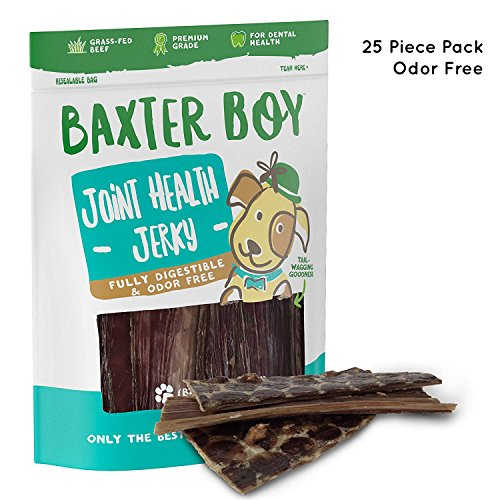 "Baxter Boy 6"" Joint Health Beef Jerky Dog Treat Chews (25 Pack) – Gourmet, Fresh and Tasty Beef Gullet Jerky – Naturally Rich in Glucosamine and Chondroitin – Promotes Healthy Joints and Tissue Growth For Sale"