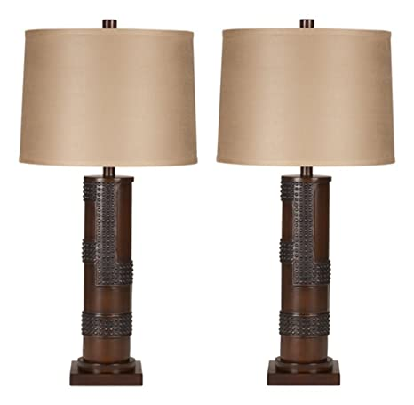 Ashley furniture signature design oriel table lamps contemporary drum shades industrial set of 2 antique copper wood finish household lamp