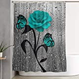 Amonee-YL Teal Gray Rose Flower Butterflies Bath Polyester Fabric Shower Curtain Sets with 10 Hooks,Modern Bathroom Home Decor