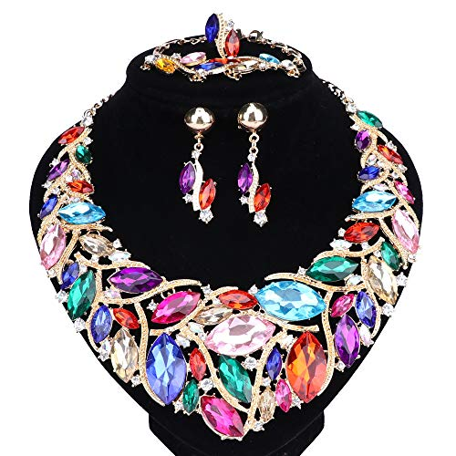 WANG Bridal Costume Jewelry Sets Crystal Choker Necklace Earrings Ring Bracelet Set for Wedding Party Dress with Gift Box (Colorful) - Choker Set Earrings