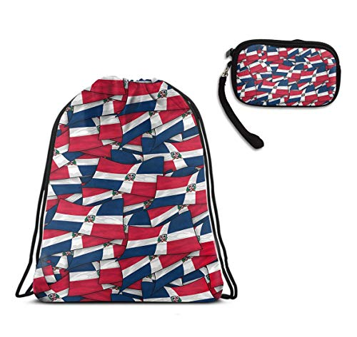 Dominican Republic Flag Wave Drawstring Sack Gym Sport Rucksack, Water Resistant Cinch Sackpack Large Size Backpack Gift With Clutch Bag Card Holder Organizer Gift For Ladies -