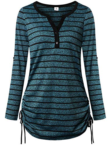 FANSIC Ladies Summer Tops and Blouses,Comfy 3/4 Sleeve Color Block Striped Tunic Shirts Black Blue Large -