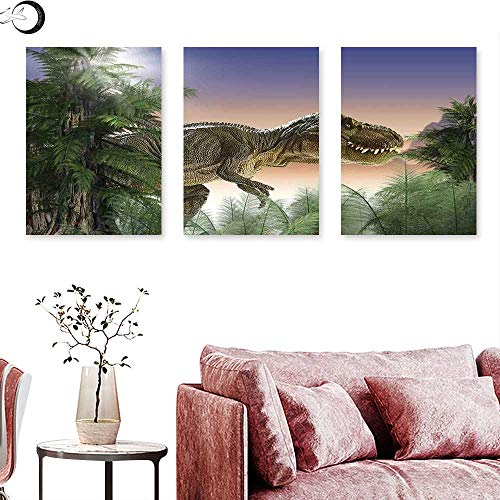 J Chief Sky Jurassic Decor Wall hangings Dinosaur in The Jungle Trees Forest Nature Woods Scary Predator Violence Wall Panel Art Triptych Art Canvas W 12