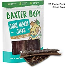 "Baxter Boy 6"" Joint Health Beef Jerky Dog Treat Chews (25 Pack) – Gourmet, Fresh and Tasty Beef Gullet Jerky - Naturally Rich in Glucosamine and Chondroitin - Promotes Healthy Joints and Tissue Growth"