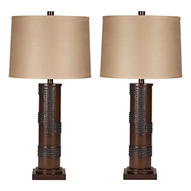 Ashley Furniture Signature Design - Oriel Table Lamps - Contemporary Drum Shades - Industrial - Set of 2 - Antique Copper & Wood Finish