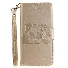 DOOGEE X5 Case, Doogee X5 Pro Case, COOSTOREEU Cute Cartoon Pattern Panda PU Leather Wallet Stand Flip Case Cover for DOOGEE X5 / Doogee X5 Pro, Gold
