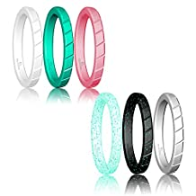 Thin Silicone Wedding Ring Stackable ring For Women By DoerDo, Affordable Rubber Wedding Bands For Active Style - 6 & 8 Rings Pack