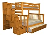Bedz King Stairway Bunk Beds Twin over Full with 4 Drawers in the Steps and a Full Trundle, Honey