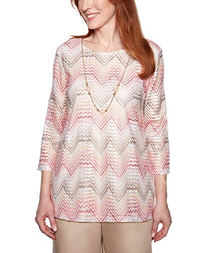 Alfred Dunner Women's Society Page Chevron Top with Necklace (Petite Medium) ()