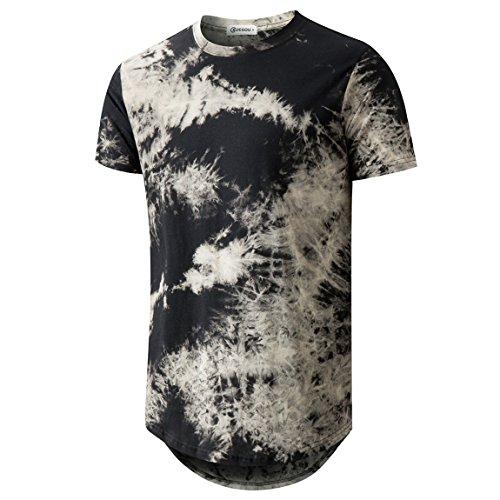 KLIEGOU Mens Hip Hop Tie-Dyed Hipster Curve Hem T Shirt(1803ZR Black L) by KLIEGOU