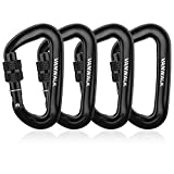 VANWALK Locking Carabiners-12KN Aluminium Wiregate Carabiners - Rated 2645 LBS Each – 7075 Lightweight Carabiner Clips for Hammock Climbing Rocking (4black-Lock)