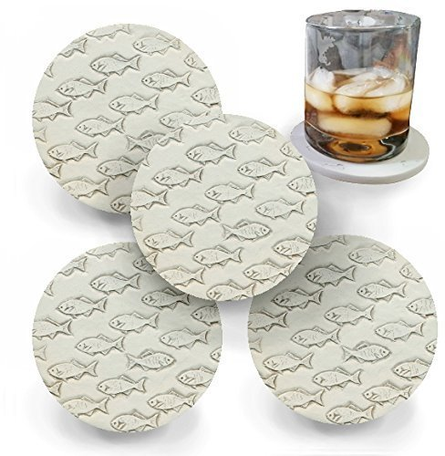 Drink Coasters by McCarter Coasters, Fish School, Absorbent, Light Beige 4.25 inch - Fish Coasters