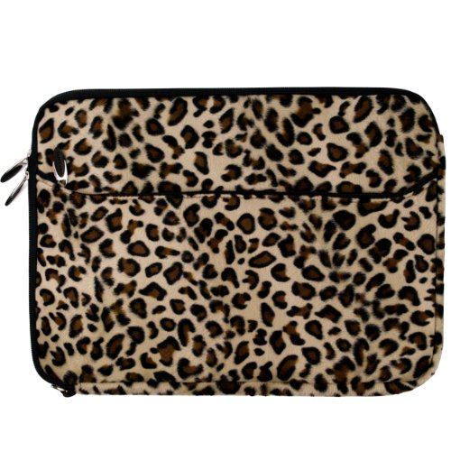 BROWN LEOPARD Faux Animal Print Sleeve Pouch Cover for Apple MacBook Pro 13' Retina Display & Air 13 inch Laptop