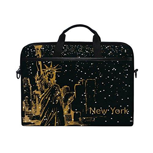 New York Slim Briefcase - Laptop Case, New York Statue Of Liberty Stars, Laptop Shoulder Messenger Bag Sleeve Notebook Tablet Cover Compatible 15 Inch - 15.4 Inch, Carrying Handbag Mac Macbook Computer Briefcase for Men Women