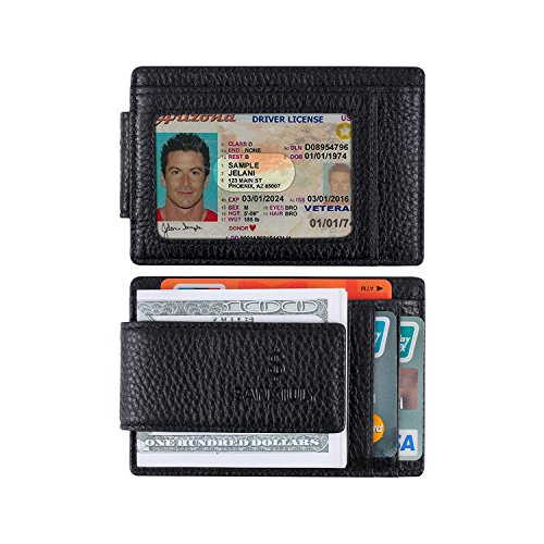 SANXIULY Minimalist RFID Magnetic Genuine Leather wallet&Carbon Fiber Money Clip Wallets With ID Window For Men And Women color Black