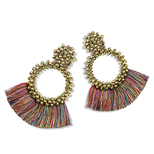 Statement Tassel Bead Earrings for Women, Drop Dangle Round Beaded Hoop Fringe Bohemian Earrings Women Girl Novelty Fashion Summer Accessories - E1 ()