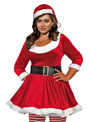 Lacy Line Santa's Helper Plus Size 3 PC Holiday Velvet Dress With Hat Set (3x/4x,Red/White) (Velvet Size Plus Hat)